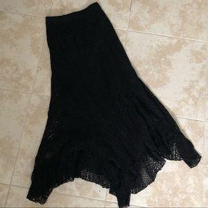 ADORABLE long black lace boho skirt